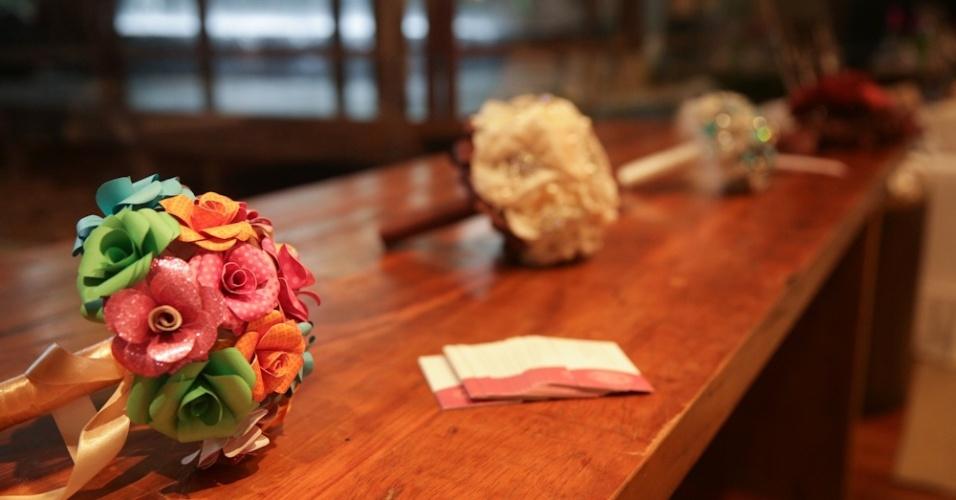 23.jun.2013 - Buquês elaborados por Fabiana Moura em exposição no espaço da cerimonialista Simone Wassermann no evento Your Day. O evento foi organizado por Simone em parceria com o Hotel Tivoli São Paulo - Mofarrej