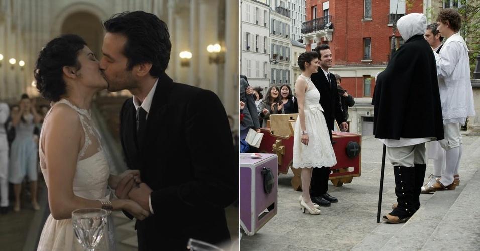 Atriz francesa Audrey Tautou, a eterna Amélie Poulain, vestida de noiva em