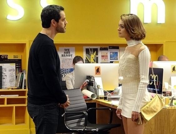 """Em """"Sangue Bom"""", Natan descobre que Amora traiu Mauricio e cancela a parceria com a jovem"""