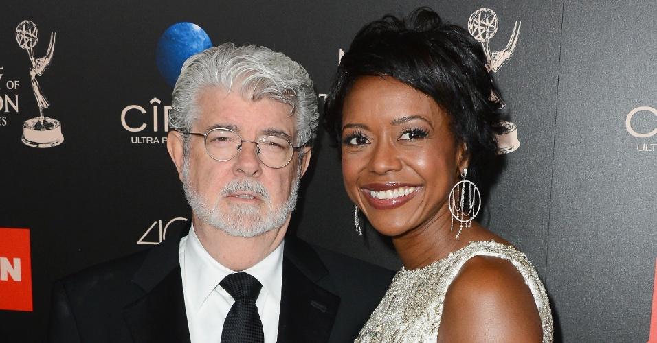 16.jun.2013 - George Lucas e Mellody Hobson na 40ª edição do prêmio Emmy para programas matutinos, em Beverly Hills