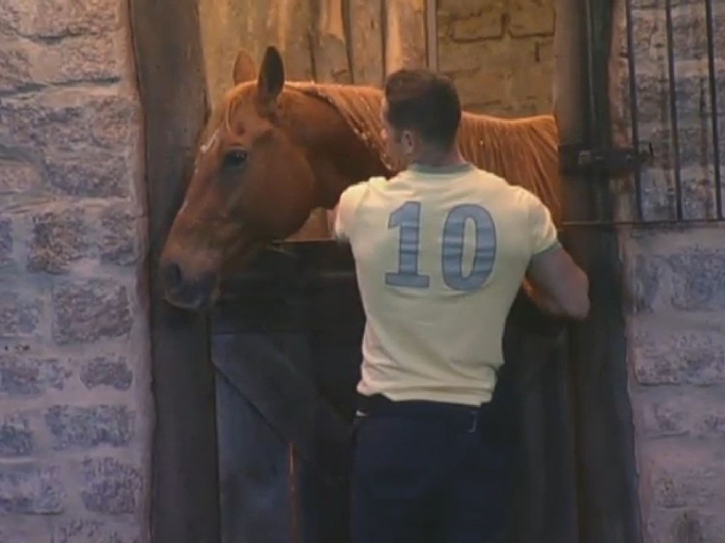 25.jun.2013 - Marcos Oliver conversa e brinca com o cavalo no estábulo e canta