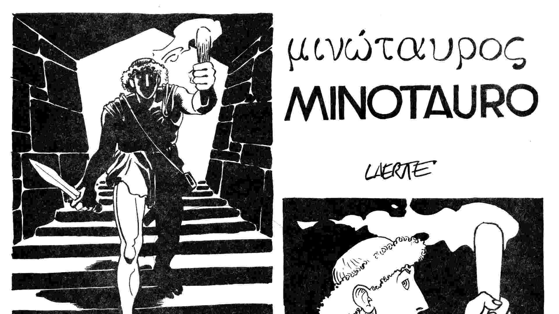 """Capa de """"Minotauro"""" também tem título escrito em grego - Acervo/Laerte"""