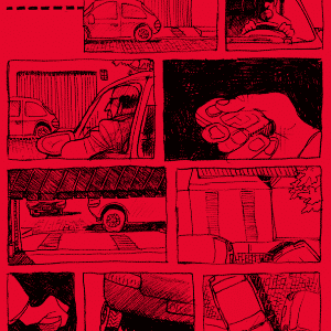 """O vermelho da história foi escolhido pelo filho de Laerte, Rafael. A editora acredita que a cor """"amplifica o sentimento de tensão e agressão da história, cheia de espaços e respiros narrativos novos na linguagem"""" - Divulgação/NarvalComics"""