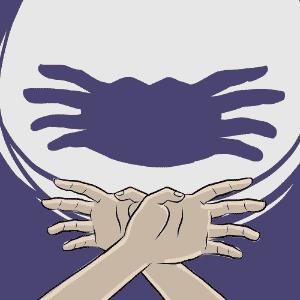 ilustração de caranguejo para o álbum de animais com sombras - Jeff Camargo/UOL