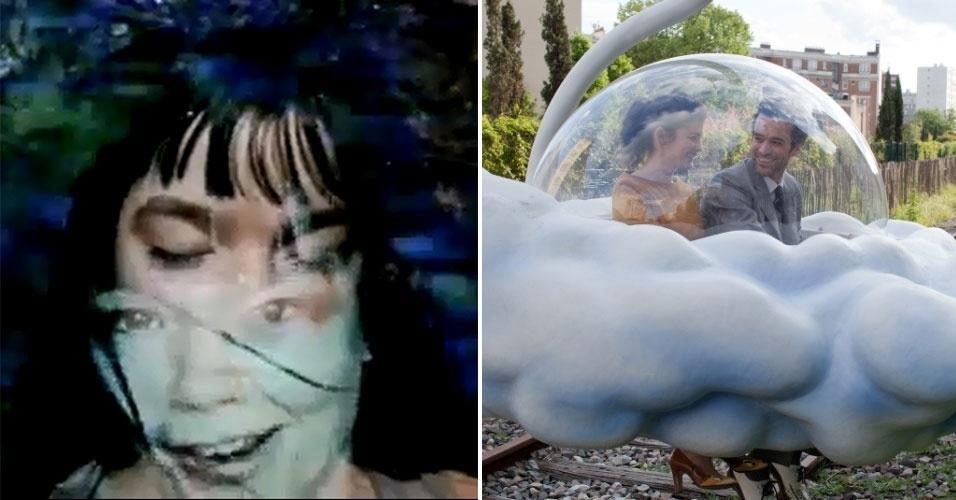 """Antes de ir para os cinemas, o francês Michel Gondry produziu inúmeros clipes. Entre eles estão: """"Hyperballad"""", de Björk (à esquerda); """"Let Forever Be"""", do Chemical Brothers; e """"Fell In Love With A Girl"""", do White Stripes. Na telona, seu principal sucesso como diretor foi """"Brilho Eterno de uma Mente sem Lembranças"""", longa estrelado por Jim Carrey e Kate Winslet. O filme mais recente do cineasta foi """"A Espuma dos Dias"""" (à direita), lançado no final de junho de 2013 no Brasil"""