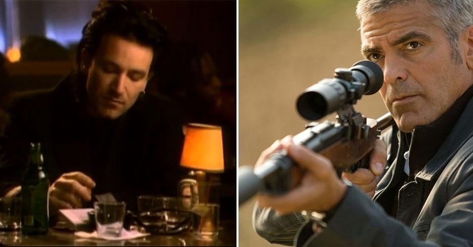 """Com poucos filmes no currículo, um dos primeiros trabalhos de relevância do holandês Anton Corbijn foi a direção do clipe """"One"""", da banda U2 (à esquerda) em 1992. Frequente colaborador do Depeche Mode e do Nirvana, Corbijn lançou dois longas a partir de 2007: """"Controle - A História de Ian Curtis"""", sobre o vocalista do Joy Division; e, """"O Americano"""", estrelado por Goerge Clooney (à direita)"""