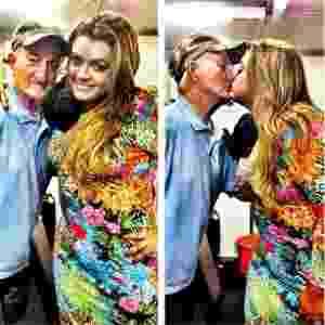 30.jun.2013- Durante festa junina, cantora Preta Gil dá selinho no assistente de palco da Globo, Russo - Reprodução/Instagram