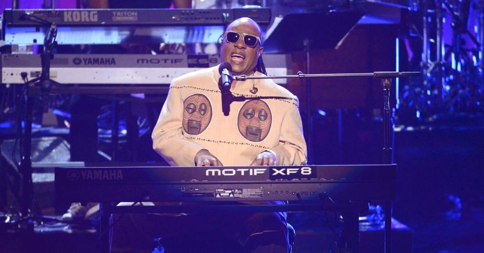 30.jun.2013 - Stevie Wonder também se apresentou no BET Awards 2013