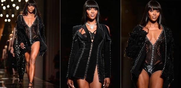 Naomi Campbell apresenta looks da Versace para o Inverno 2013 durante a semana de alta-costura de Paris (30/06/2013) - Getty Images