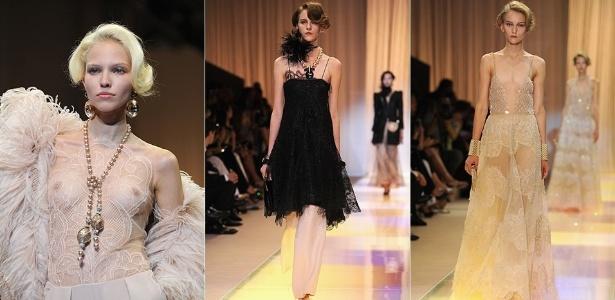 Na coleção da Giorgio Armani Privé predominaram a seda e a renda, mas também houve espaço para as plumas de marabu - Getty Images