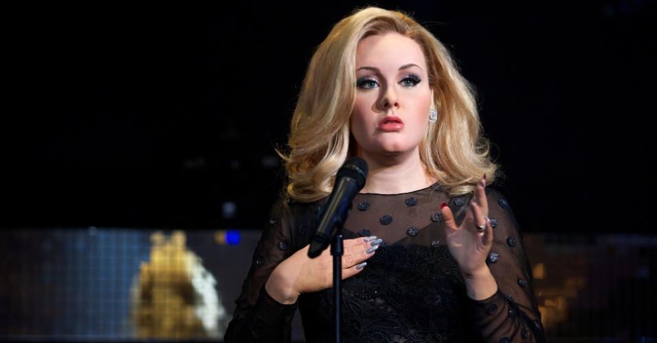 3.jul.2013 - Figura de cera da cantora Adele é apresentada no museu Madame Tussauds, em Londres