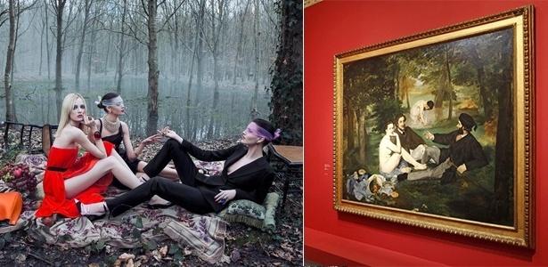 """À esquerda, still do vídeo com campanha Inverno 2013 da Christian Dior; e, à direita, o quadro """"Almoço na Relva"""" de Edouard Manet, de 1863, em exposição em Paris - Divulgação / Reuters"""