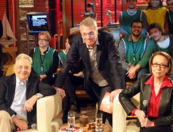 Fernando Henrique Cardoso com Fernanda Montenegro e Pedro Bial no