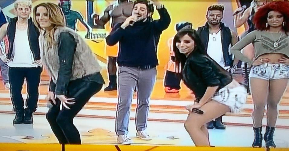 6.jul.2013 - Ticiane Pinheiro disputa com Anitta prova com a coreografia do 'quadradinho de 8'