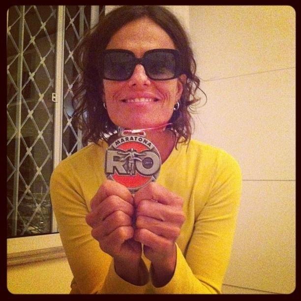 7.Jul.2013 - Zélia Duncan completa a Maratona do Rio realizada neste domingo,