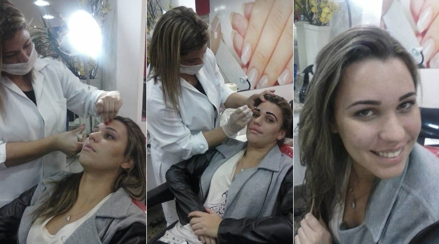 8.jul.2013 - Ex-BBB Marien faz sobrancelha em salão na zona oeste do Rio