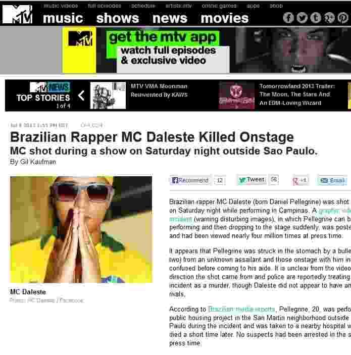 8.jul.2013 - Imprensa internacional repercute morte do MC Daleste - Reprodução / MTV.com