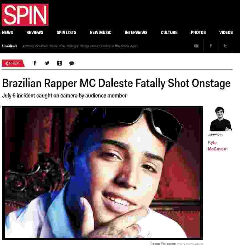 8.jul.2013 - Imprensa internacional repercute morte do MC Daleste - Reprodução / Spin Magazine