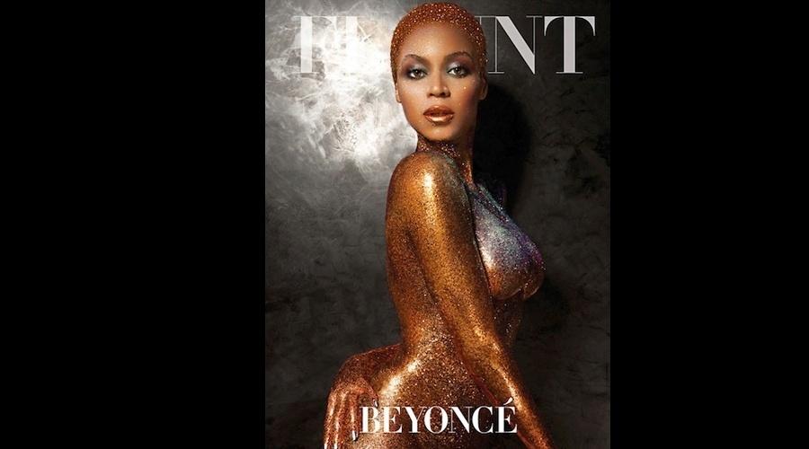 """10.jul.2013 - Beyoncé se cobriu de purpurina para estrela a nova edição da revista """"Flaunt"""". A cantora que recentemente desmentiu os rumores de uma segunda gravidez, mostrou que está com o corpo em forma. Ela é uma das artistas mais aguardadas para a edição do Rock in Rio que acontece em setembro, no Brasil"""