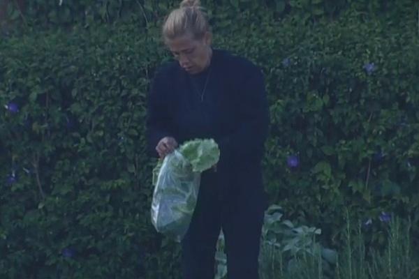 11.jul.2013 - Rita Cadillac cuida da horta