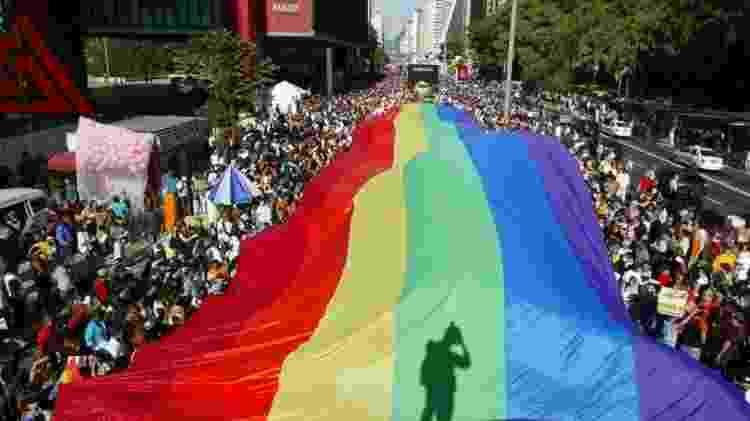 Participantes da Parada do Orgulho Gay de São Paulo com bandeira na avenida Paulista (2011) - Caio Guatelli/Folhapress - Caio Guatelli/Folhapress