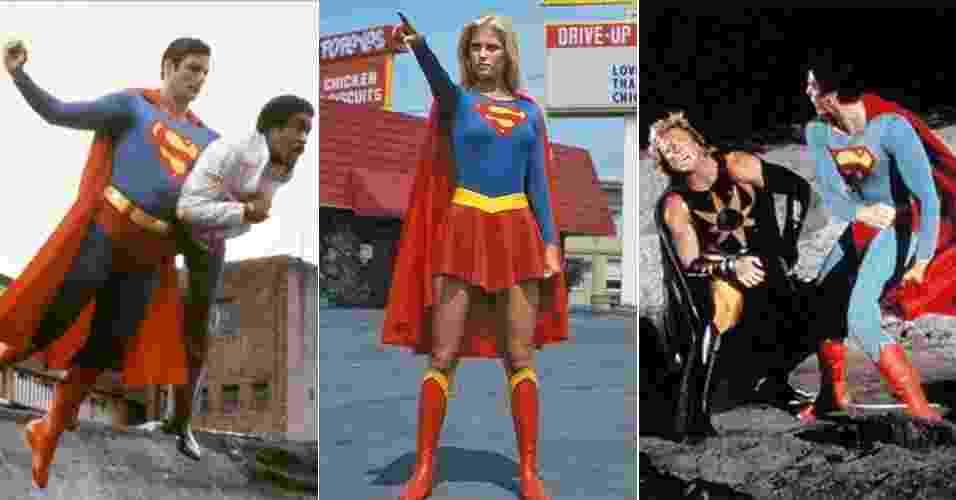 """Cenas dos filmes """"Superman 3"""" (1983), """"Supergirl"""" (1984) e """"Superman 4"""" (1987) - Divulgação"""