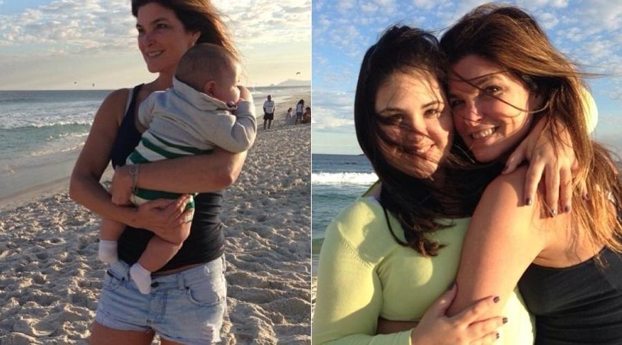 """13.jul.2013 - Cristiana Oliveira divulgou imagens de um passeio feito com a filha Rafaella, e o neto Miguel, em uma praia do Rio. """"Minha nova razão de viver"""", escreveu a atriz sobre o neto"""