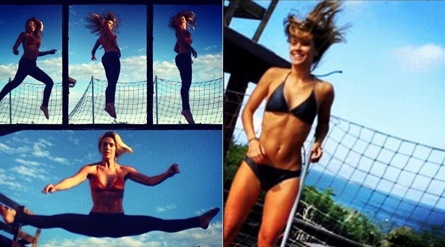 14.jul.2013 - Carolina Dieckmann aproveitou o domingo para se divertir em uma cama elástica. A atriz divulgou as fotos por meio de uma rede social e exibiu a boa forma de biquíni
