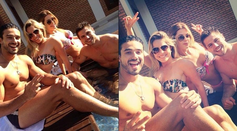 14.jul.2013 - Os ex-BBB's Renatinha, Cacau e Jonas curtiram festa na piscina neste domingo. Eles estão em Mato Grosso para um evento
