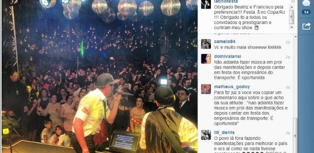 Latino se apresenta na festa de casamento de Beatriz Barata e Francisco Feitosa Filho, no Copacabana Palace