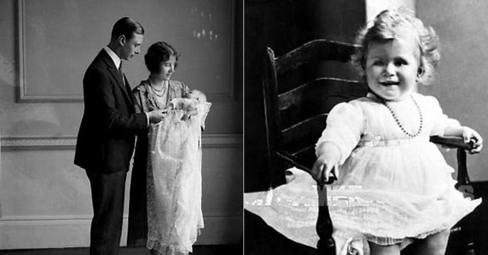 À esquerda, a Rainha Elizabeth II com a Rainha Mãe Elizabeth e o pai, o Rei George VI, em sua cerimônia de batismo, em 1926. A direita, a Rainha prestes a completar um ano de idade