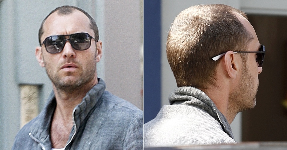 11.jul.2013 - Galã, Jude Law exibe careca em Londres