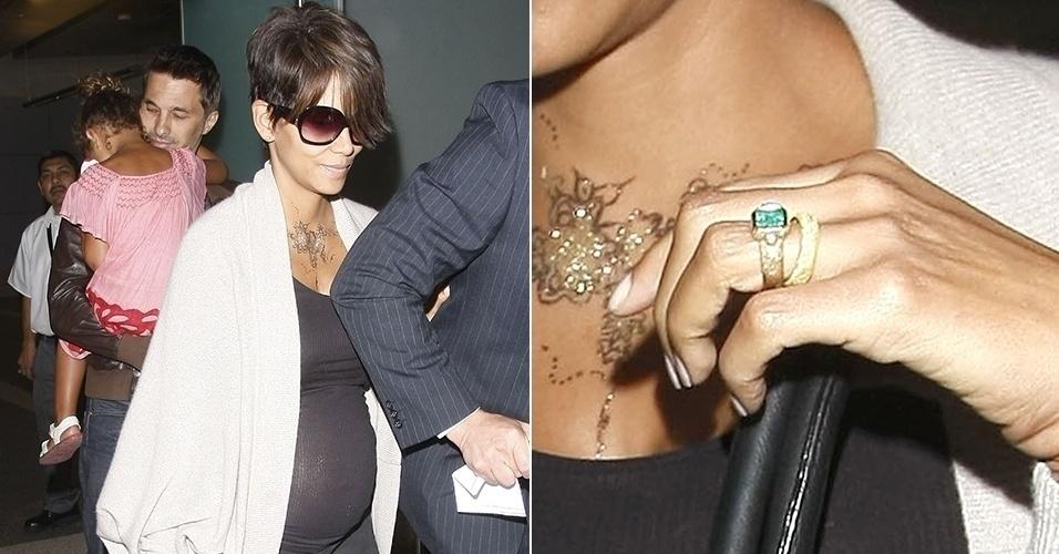 16.jul.2013 - Após se casar em castelo na França, Halle Berry exibe aliança em Los Angeles