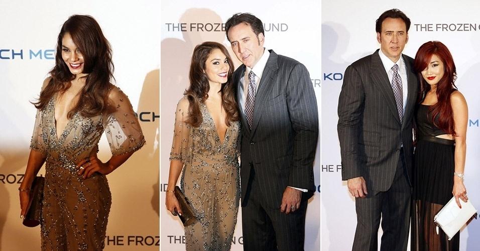 17.jul.2013 - Com um decote generoso, atriz Vanessa Hudgens posa ao lado do ator Nicolas Cage em pré-estreia de filme