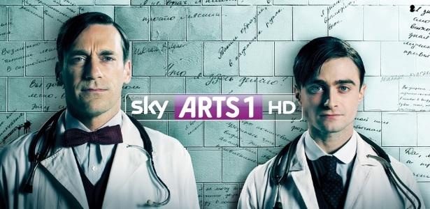 17.jul.2013 - Daniel Radcliffe e Jon em anúncio da série