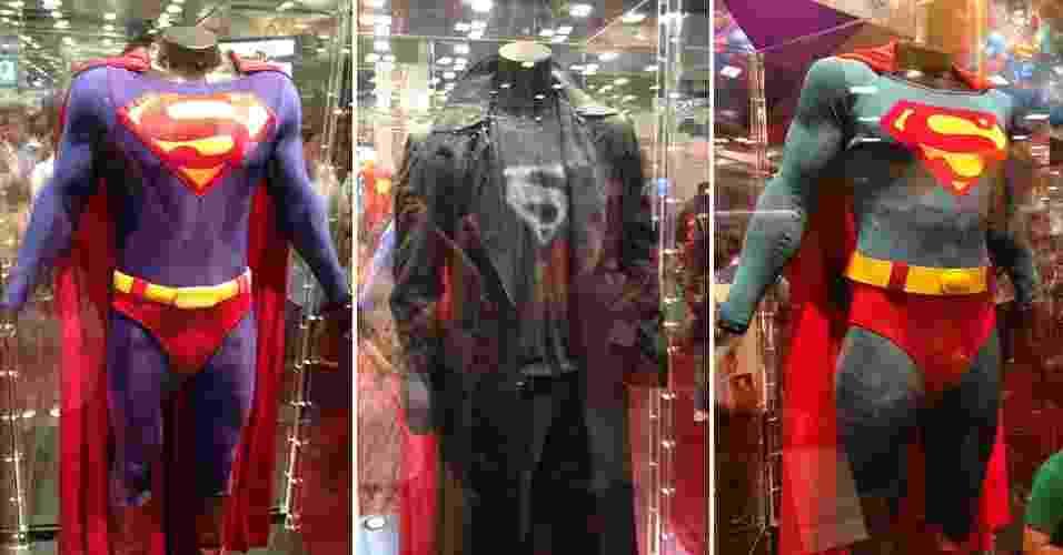 17.jul.2013 - Exposição na Comic-Con reúne principais uniformes usados pelo Superman nos filmes e séries de TV - Natalia Engler/UOL