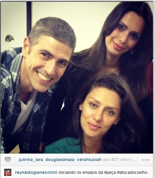 17.jul.2013 - Gianecchini publicou foto com Maria Fernanda Cândido no ensaio da peça