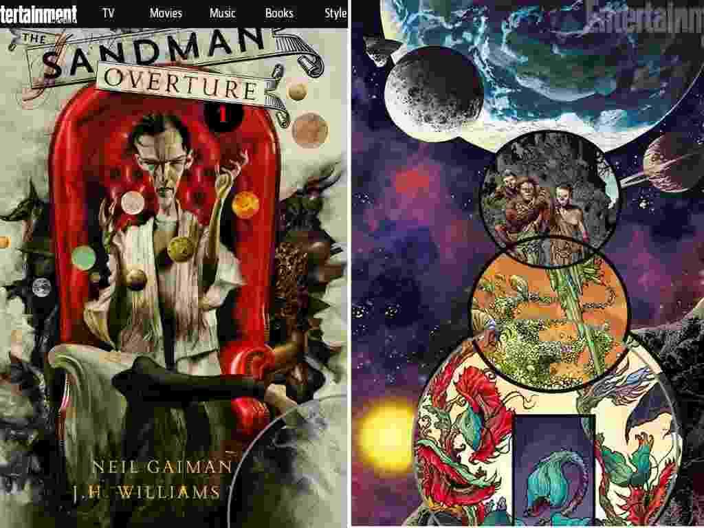 """17.jul.2013 - Revista Entertainment Weekly divulgou nesta quarta-feira (17) a primeira imagem da capa da nova fase da série """"Sandman"""", de Neil Gaiman. A ilustração é assinada por Dave McKean, que também desenhou uma arte especial (foto à direita) para o catálogo oficial da Comic-Con 2013. Ao centro, arte de J.H. William III para a primeira história da nova série de """"Sandman"""". - Reprodução/Entertainment Weekly"""