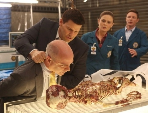 """""""BONES"""" - O programa de investigação forense """"Bones"""" também deve muito de seu tom a """"Arquivo X"""", tanto pela ênfase nas autópsias quanto no embate entre ciência e fé dos protagonistas, a doutora Temperance e o agente Booth"""