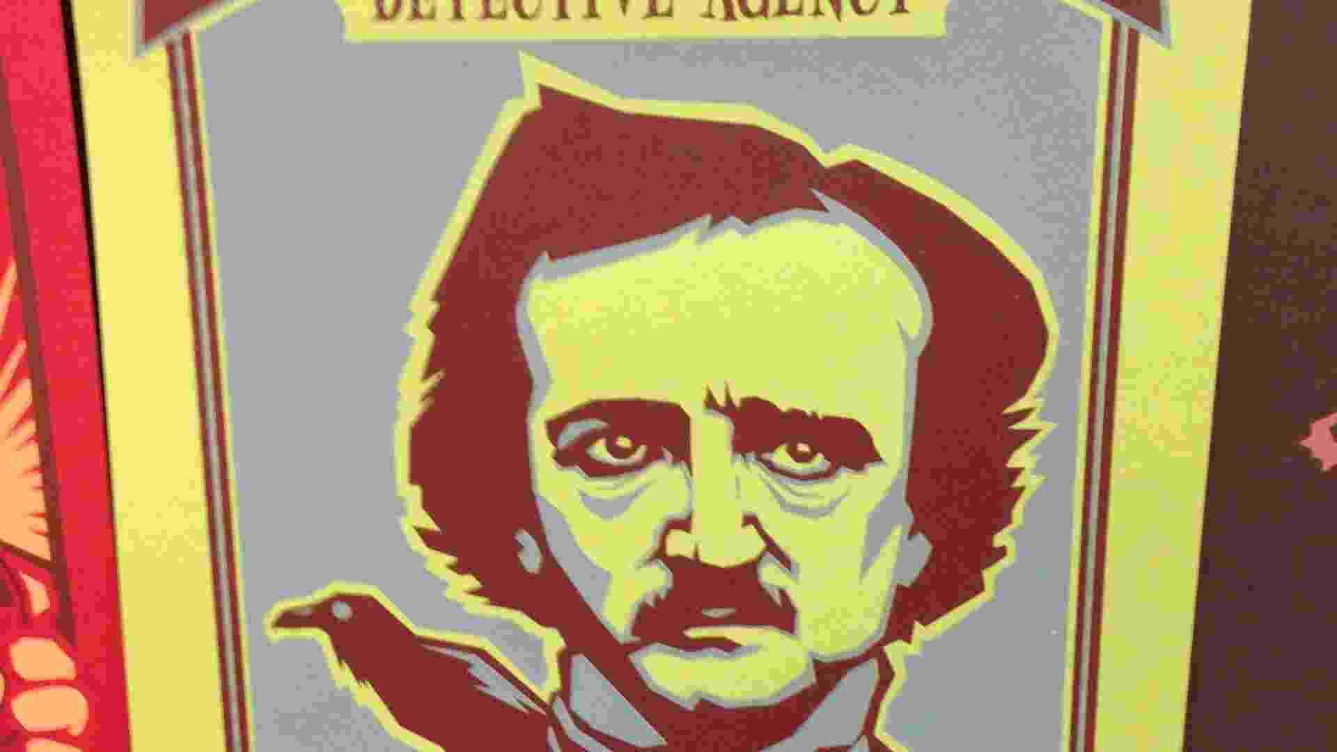 17.jul.2013 - Personagens da história e da literatura viram pôsteres de propagandas fictícias. A agência de detetive do escritor Edgar Allan Poe no pôster do artista Daniel Davis - Natalia Engler/UOL