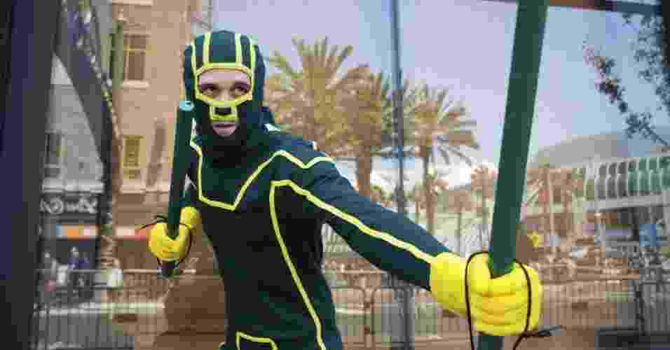 "18.jul.2013 - Cosplayer encarna o protagonista do filme ""Kick-Ass 2"", que estreia este ano - Fred Greaves/Reuters"