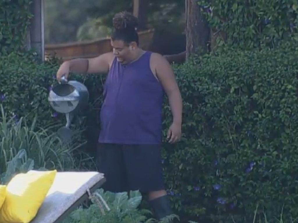 19.jul.2013 - Gominho cuida da horta na manhã desta sexta-feira