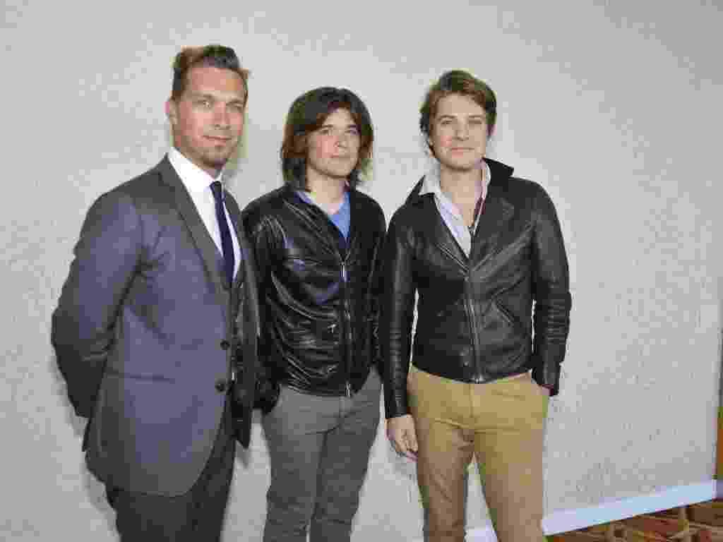 """19.jul.2013 - Os irmãos Taylor, Zachary e Isaac Hanson participam de coletiva de lançamento do álbum """"Anthem"""" no Hotel Sheraton, no Leblon (Rio de Janeiro) - André Muzell / AgNews"""