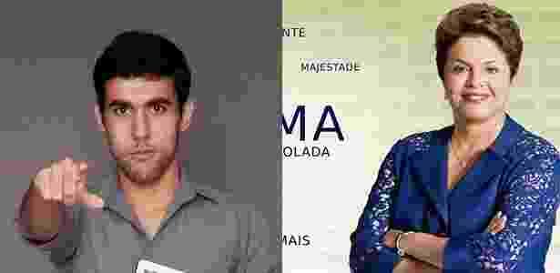 O publicitário Jeferson Monteiro e a personagem Dilma Bolada - Montagem/Reprodução