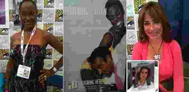 """Trina Parks (à esquerda), considerada a primeira bond girl negra do cinema (foto ao centro); Claudia Wells (à direita) vende autógrafos na Comic-Con como o par romântico do protagonista no primeiro filme da série """"De Volta para o Futuro"""" - Estefani Medeiros/UOL"""