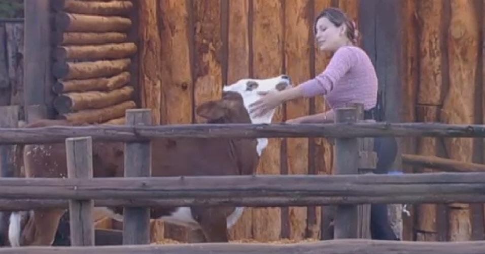 20.jul.2013 - Andressa Urach brinca com bezerro ao descer para tratar dos animais