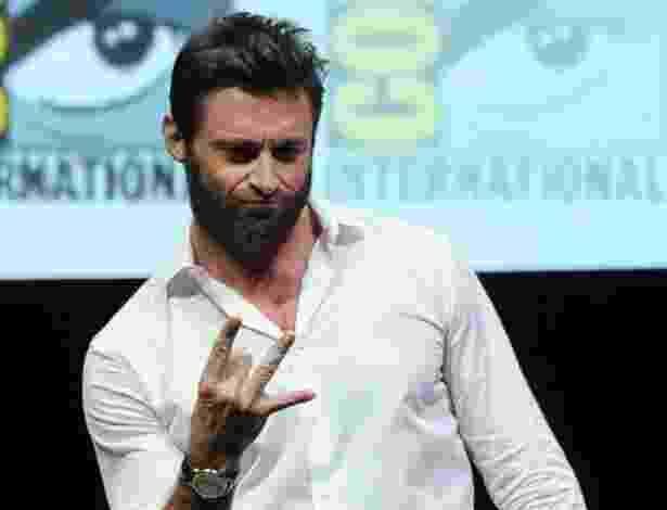 """20.jul.2013 - O ator Hugh Jackman no painel do filme """"X-Men: Days of Future Past"""" no quarto dia da Comic-Con - Kevin Winter/AFP"""
