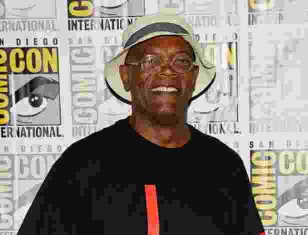 """20.jul.2013 - Samuel L. Jackson em evento de """"Thor: O Mundo Sombrio"""", """"Guardiães da Galáxia"""" e """"Capitão América 2: O Soldado Invernal"""" no quarto dia da Comic-Con 2013 - Ethan Miller/AFP"""