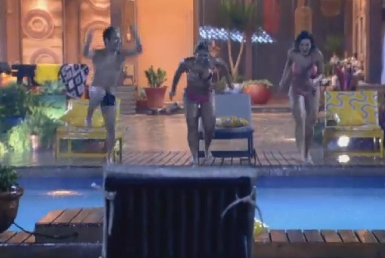 20.jul.2013 - Yudi, Andressa, Ivo e Yani comemoram um mês de Fazenda na piscina