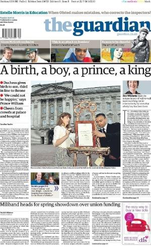 """O jornal inglês """"The Guardian"""" usou a seguinte manchete para anunciar o fato : """"um nascimento, um menino, um príncipe, um rei"""""""